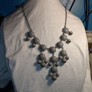 Gray And  Gold Tone  Dangles  Statement  Necklace